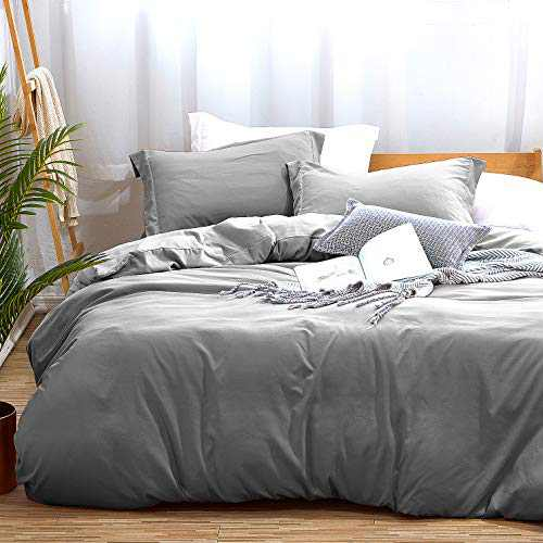 Mukka Duvet Cover Queen,100% Washed Microfiber 3pcs Bedding Duvet Cover Set,Solid Color - Soft and Breathable with Zipper Closure & Corner Ties (Light Grey,Queen)