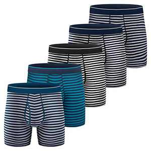 Mens Boxer Briefs, Cotton Underwear Comfy Breathable Tagless No Ride-up 6'' Regular Leg Sport Stripe Boxer Briefs with Fly 5Pack