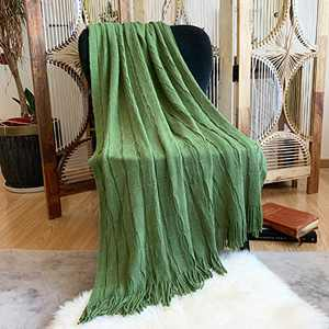 "DISSA Knitted Blanket Super Soft Textured Solid Cozy Plush Lightweight Decorative Throw Blanket with Tassels Fluffy Woven Blanket for Bed Sofa Couch Cover Living Bed Room (Olive, 50""x60"")"