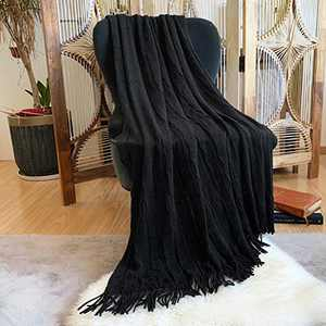 """DISSA Knitted Blanket Super Soft Textured Solid Cozy Plush Lightweight Decorative Throw Blanket with Tassels Fluffy Woven Blanket for Bed Sofa Couch Cover Living Bed Room (Black, 50""""x60"""")"""