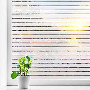 Coavas Frosted Window Film Privacy Blinds Glass Film Decorative Non-Adhesive Static Cling Anti UV Home Office Kids Window Stickers for Bathroom Meeting Living Room, Stripe Patterns (17.7 x 78.7 Inch)