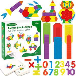 Aitbay 200 Pcs Wooden Pattern Blocks Set, Geometric Shape Puzzle Educational Montessori Tangram Toys for Kids Ages 3+ with 36 Pcs Design Cards