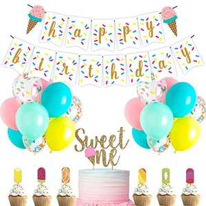 Shalofer Baby Girls Ice Cream Theme Decorations Set-Baby Girls 1st Birthday Party Supplies,Birthday Banner,Latex Balloon,Confetti Balloons,Cake Toppers (Ice Cream)