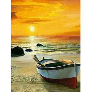 DIY 5D Diamond Painting Kits Full Drill,Diamond Painting Sea Beach Crystal Rhinestone Embroidery Cross Stitch Arts Craft for Home Wall Decor Gift 12X16 inches