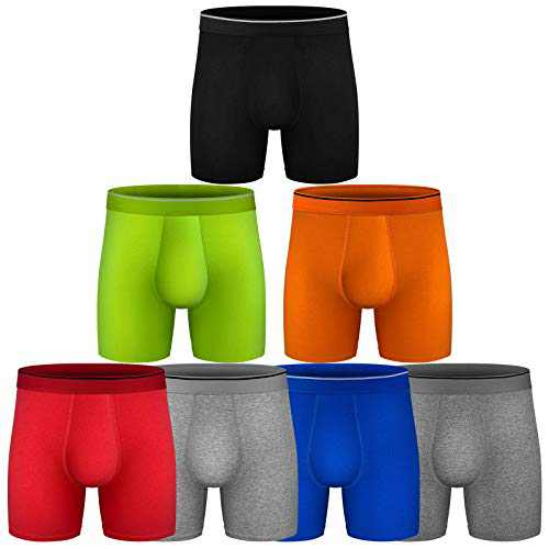 Mens Boxer Briefs, Cotton Underwear Comfy Breathable Tagless No Ride-up 6'' Regular Leg Sport Boxer Briefs No Fly 7 Pack