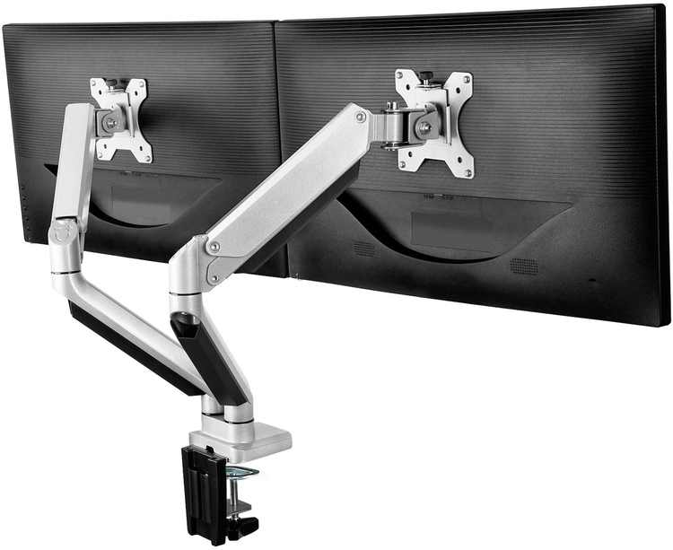 """ErGear Dual Monitor Stand for 13""""-32"""" LCD/LED Gas Spring Full Range Motion Technology Double Monitor Arm with Tilt ±45° Swivel 180° Rotate 360° Ergonomic Design VESA 100/75mm Weight 8KG - Sliver"""