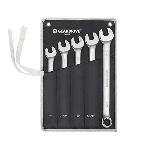 """GEARDRIVE Long Pattern Combination Wrench Set, SAE, 5-Piece, 1"""" to 1-1/4"""", 12 Point, Chrome Vanadium Steel, with Pouch"""
