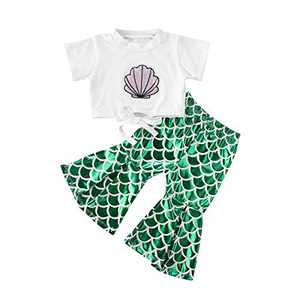 Baby Girl Newborn Clothes 3Pc Mermaid Outfit Short Sleeve White Romper Bodysuit Tops Pants Headband Cotton Infant Clothing (2-3 Years, Green)