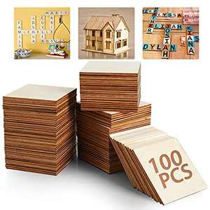 5ARTH Unfinished Wood Board - 100Pcs 3 x 3in Blank Natural Slices Wood Square for DIY Crafts Painting, Scrable Tiles, Coasters, Pyrography, Decorations