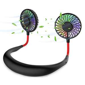 Hands Free Portable Neck Fan-Rechargeable,Mini USB Fan, Around Your Neck Fans,Sportes Hand Free fan,With 3 Level Air Flow 7 LED lights For Home Office Travel Camping Indoor Outdoor Fans (Black)