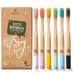Greenzla Kids Bamboo Toothbrushes (6 Pack) | BPA Free Soft Bristles Toothbrushes | Eco-Friendly, Natural Bamboo Toothbrush Set | Biodegradable, Compostable & Organic Charcoal Wooden toothbrushes