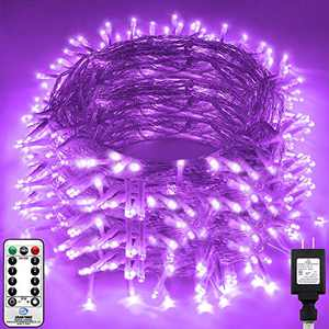 KNONEW LED String Light 1000 LED 394ft Long Christmas Lights with 8 Modes & Timer, Indoor Outdoor Plug in Fairy Lights for Home Christmas Wedding Party Yard Tree Holiday Decorations (Crystal Purple)