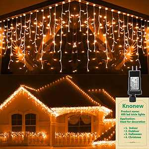 KNONEW LED Icicle Lights, 400 LED, 32ft 8 Modes Curtain Fairy Light with 75 Drops, Clear Wire String Light Decor for Christmas Thanksgiving Wedding Party Indoor Outdoor Decorations(Coral Orange)