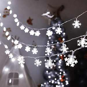 KNONEW 100 LED Snowflake String Lights 33ft Christmas String Lights with 8 Lighting Modes, Fairy Lights for Xmas Garden Patio Bedroom Party Decor Indoor Outdoor Lighting Decorations (Cool White)