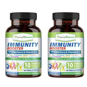 Power by Naturals Immunity Booster with Elderberry and Vitamin C Supplement, Advanced Immune Defense Support Vitamin D with Zinc Plus Probiotic Non-GMO Formula for Adults, 60 Capsules (2 Bottles)