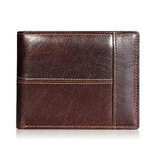 Mens Wallet RFID Genuine Leather Bifold Wallets For Men, ID Window 16 Card Holders Gift Box (Brown (No Zipper))