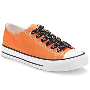 jenn-ardor Womens Sneakers Low Tops Canvas Shoes Casual Lace Up Comfortable Fashion Flats 6.5 Orange