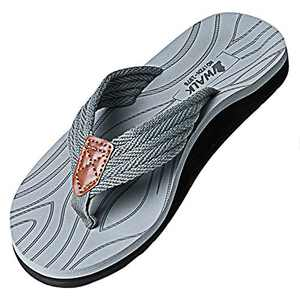 VWALK Men's Sandal Flip Flop with Orthotic Arch Support for Flat Feet Plantar Fasciitis (Grey, Numeric_8_Point_5)