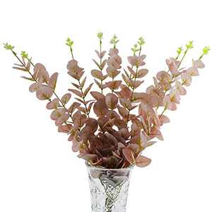 U/N Artificial Eucalyptus Branches Greenery Stems 10 PCS Plastic Silk Silver Dollar Eucalyptus Leaf Plants Floral Arrangement for Home Party Wedding Christmas Decoration (Pink)