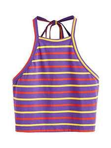 Romwe Women's Summer Striped Halter Self Tie Backless Crop Top Vest Cami Purple Medium