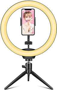 """Ring Light Hieha 10"""" LED Ring Light with Tripod Stand & Flexible Phone Holder, Dimmable 3 Light Modes &10 Brightness Level Sefile Desk Light for Makeup, YouTube TikTok, Compatible with iPhone &Android"""