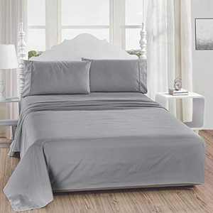 softan Full Bed Sheet Set,1 Flat Sheet,1 Deep Pocket Fitted Sheet, and 2 Pillow Cases, 4 PC Brushed Microfiber Bedding Sheet Set, Breathable & Silky Soft Feeling Sheets(Light Grey)