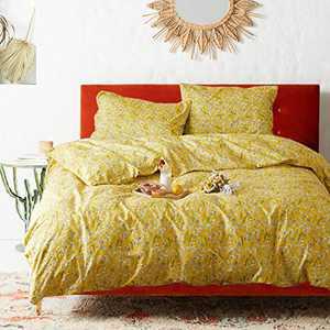 Luxlovery Yellow Floral Duvet Cover Set Queen Women Girls Boho Bedding Set Cottage Core Garden Fresh Dandelion 100% Cotton Breathable Soft Comfy Duvet Cover Sets with 2 Pillowcases
