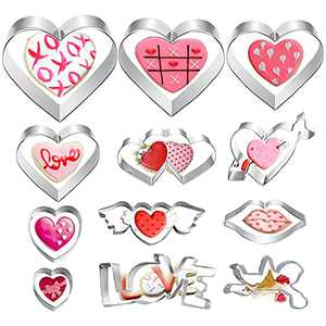 Heart Cookie Cutters, Set of 12 Pastry Cutters Stainless Steel Biscuit Cutters, Different Sizes Heart Shape Cutters, Wing, Arrow & Double Heart Cutters for Valentine's Day, Wedding Anniversary