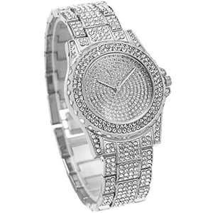OYEAHO Ladies Watch Luxury Diamond Shining Bling Watches for Women Easy Reader Quartz Analog Stainless Steel Strap Watch (3.Silver Diamond)