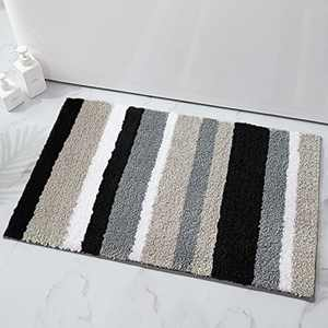 "Buganda Microfiber Stripe Bathroom Rugs, Shaggy Soft, Absorbent, Machine Washable, Non-Slip Bath Mat and Bath Rugs for Bathroom(Black and Grey, 17""x24"")"