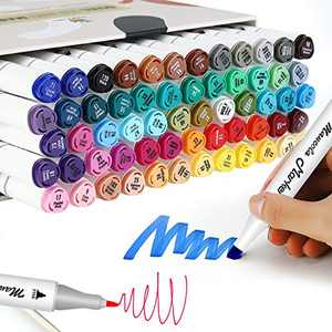 Mancola 60 ColorsMarker Pens Dual Tips Permanent Art Markers for Kids, Highlighter Pen Set for Adult Coloring Drawing Sketching Highlighting and Underlining MAN-MK-60