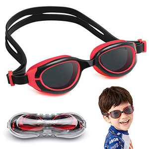 NIAFEYA Kids Swim Goggles/Soft Silicone Seals - Anti Fog - UV Protection - Suitable for Toddlers Age 2-11 Years Old (Black and Red)