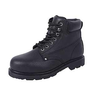 BOIWANMA Steel Toe Work Safety Boots for Men Durable Leather Non-Slip Oil-Resistant Lightweight Water Resistant Rubber Sole Construction Industrial Electrician Work Hiking Boot Black, Size 7 wide