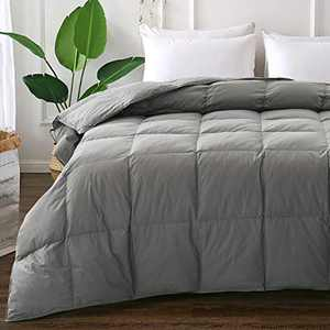 ELNIDO QUEEN Grey Down Comforter with Goose Duck Down and Feather Filling - 100% Cotton Cover - Warmth All Season Duvet Insert - Machine Washable Stand Alone Bed Comforter with Tabs Queen 90×90 Inch