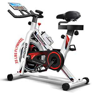 HARISON Exercise Bike Indoor Cycling Bike Belt Driven with iPad Holder 35LBS Flywheel for Home Gym Cardio Workout