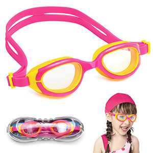 NIAFEYA Kids Swim Goggles/Soft Silicone Seals - Anti Fog - UV Protection - Suitable for Toddlers Age 2-11 Years Old (Yellow and Pink)