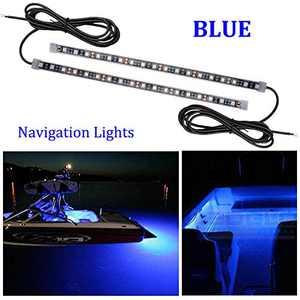 FICBOX 2PCS LED Boat Bow Navigation Light Kits 12 Inch Waterproof String Lights for Pontoon Boat Dinghy Kayak (Blue)