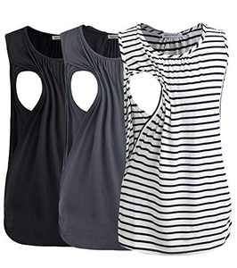 Smallshow Women's Maternity Nursing Tank Tops Breastfeeding Clothes 3-Pack Medium Black-Dark Grey-White Stripe