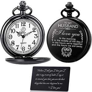 OyeahO Pocket Watch to Husband Boyfriend, Pocket Watch with Chain,Pocket Watch, Gift for Husband - Vintage Fob Watches for Men Husband Birthday Valentines Anniversary Christmas
