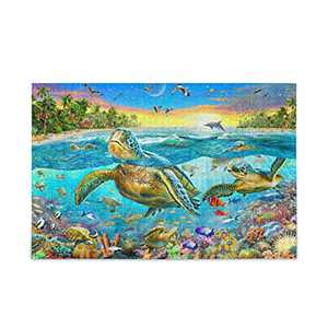 Jigsaw Puzzles 500 Pieces for Adults Kids Ocean World Sea Turtle Dolphins Puzzle Artwork Family Toy Educational Game 2030561