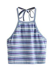 Romwe Women's Summer Striped Halter Self Tie Backless Crop Top Vest Cami Blue_1 Medium