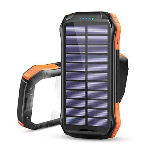 Hiluckey Solar Charger 16000mAh, Portable Wireless Charger Solar Power Bank with 3 Outputs & LED Light Phone Charger for iPhone, for iPad, Samsung and Camping, Hiking