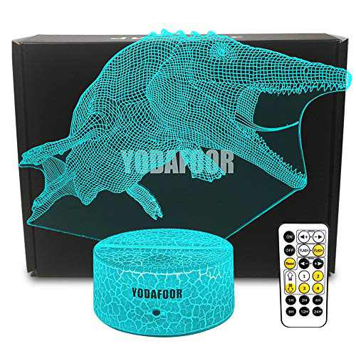 YODAFOOR Mosasaurus Shark Gifts Night Lights for Kids Dinosaur 3D Night Light Bedside Lamp 7 Colors Changing with Remote Control Birthday Christmas Gifts for Men Boys Girls Kids Baby (Mosasaurus-W)