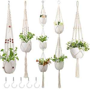 5 Pack Macrame Plant Hangers Indoor, STRAWBLEAG Plant Hangers Indoor Holder, Boho Handmade Cotton Rope Hanging Planter Holder Set for Indoor Outdoor Home Decor with 5 Hooks