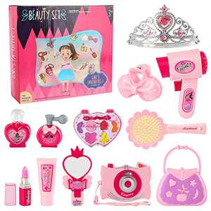 Fedio Girls Pretend Play Beauty Set Salon Toy Kit for Kids Make Up Kit Beauty Toy Hair Styling Set Toddler Salon Play Set with Toy Hairdryer,Mirror and Other Accessories,12 Piece Set