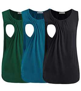 Smallshow Women's Maternity Nursing Tank Tops Breastfeeding Clothes 3-Pack X-Large Black-Deep Green-Teal