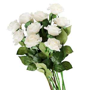 Artificial Single Rose 10 PCS Long Stem Silk Rose Soft Petals Fake Flowers Bouquet Wedding for Flower Arrangement DIY Party Home Decor (White)