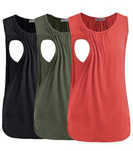 Smallshow Women's Maternity Nursing Tank Tops Breastfeeding Clothes 3-Pack Medium Army Green-Black-Orange