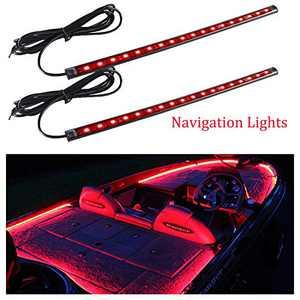 FICBOX 2PCS Marine LED Navigation Lights 12 Inch Waterproof LED Strips Kit for Pontoon Boat Dinghy Kayak (Red)