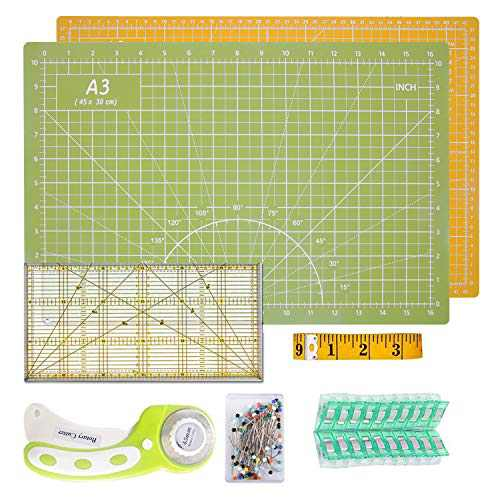 O'woda Rotary Cutter Quilting Kit, A3 Cutting Mat + 45mm Rotary Cutter + Tape Measure + Patchwork Ruler + Patchwork Clip (Set of 20)+ 50 Pcs Pins (Green+Orange)